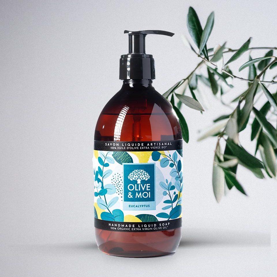 Sapone Liquido Biologico Olive & Moi con Olio di Oliva Vergine Profumo di Eucalipto