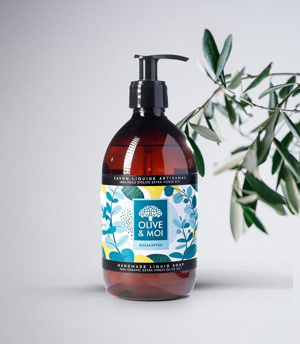 Olive & Moi Savon Liquide bio à l'huile d'olive Vierge parfum eucalyptus