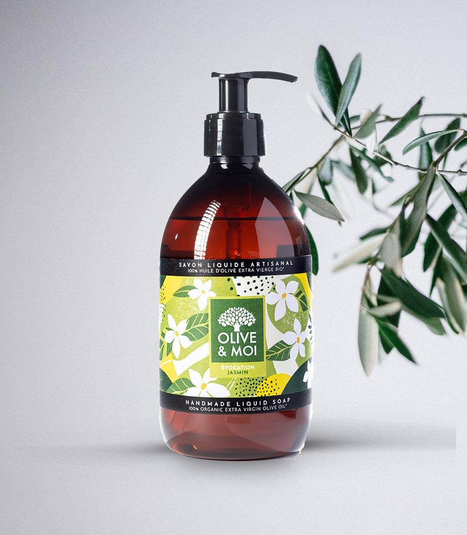 Olive & Moi Savon Liquide bio à l'huile d'olive Vierge parfum jasmin