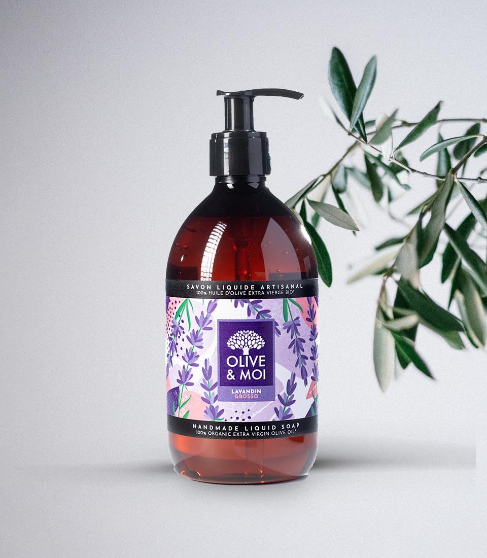 Olive & Moi Savon Liquide bio à l'huile d'olive Vierge parfum lavande
