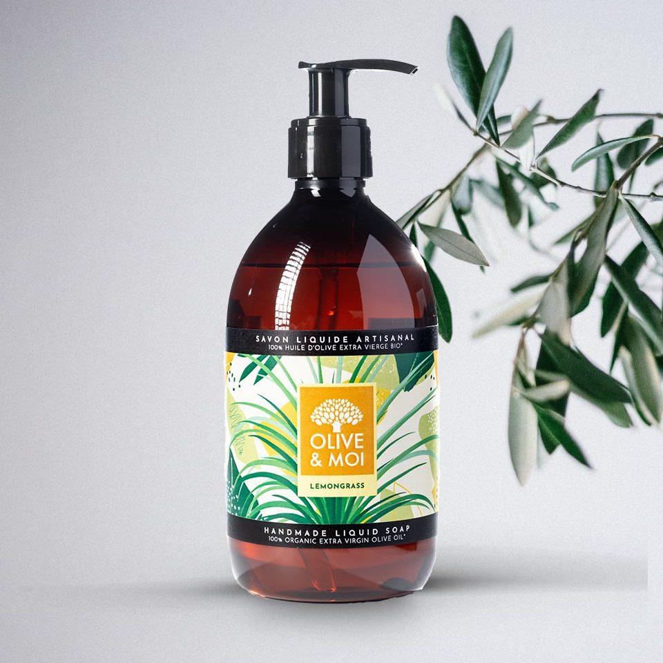 Olive & Moi Savon Liquide bio à l'huile d'olive Vierge parfum lemongrass