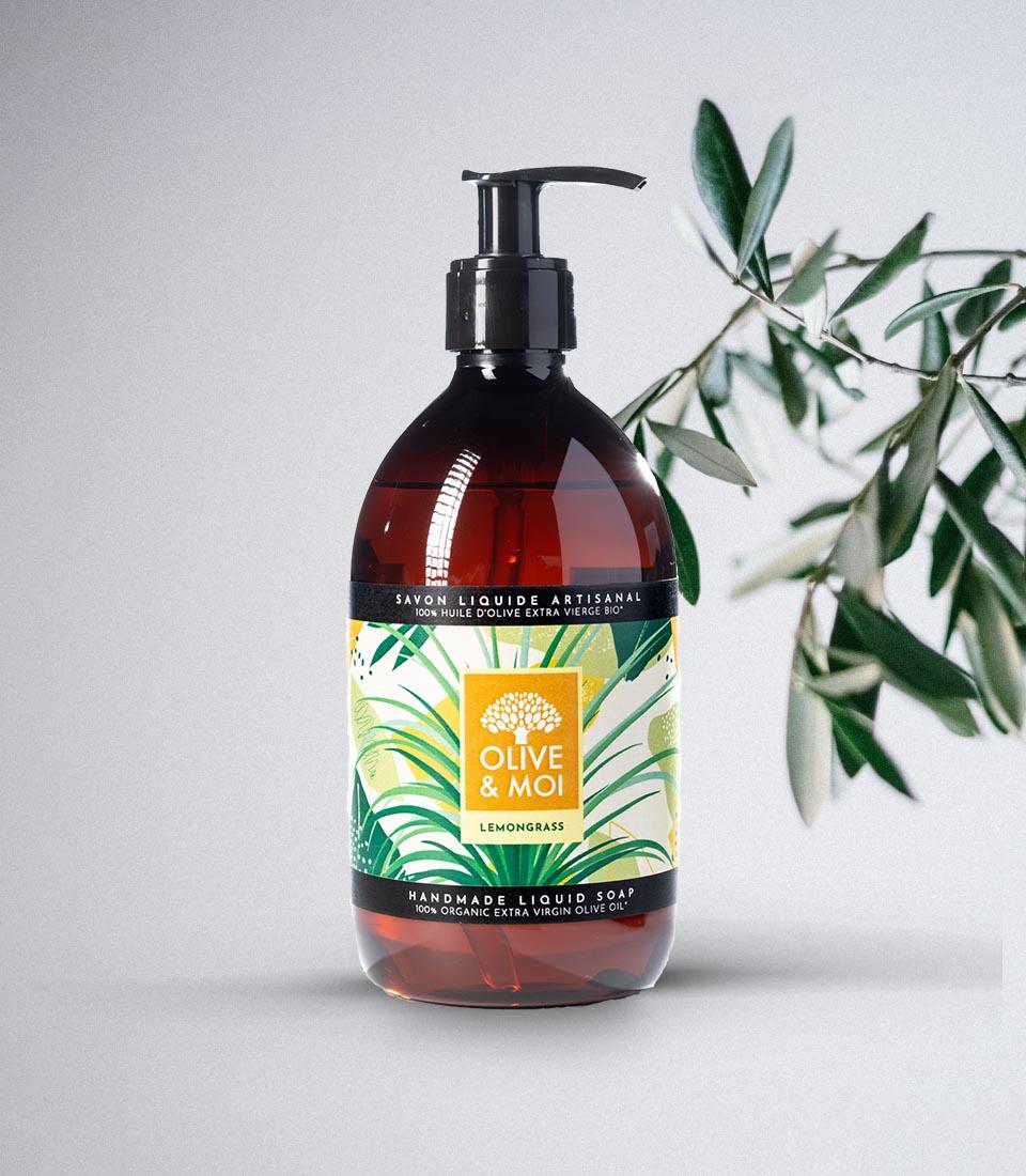Sapone Liquido Biologico Olive & Moi all'Olio di Oliva Vergine Profumo di citronella