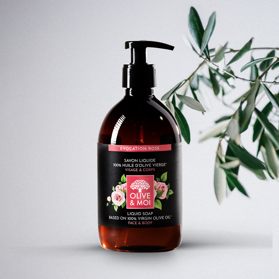 Olive & Moi Savon Liquide bio à l'huile d'olive Vierge parfum rose