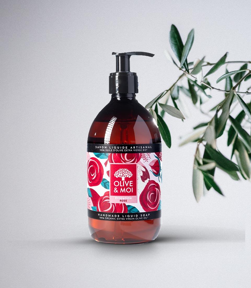 Sapone Liquido Biologico Olive & Moi all'Olio di Oliva Vergine Profumo Rosa