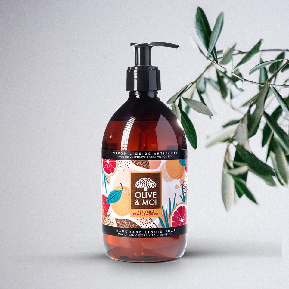 Olive & Moi Savon Liquide bio à l'huile d'olive Vierge parfum vetiver